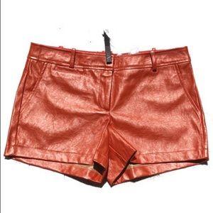 NEW! Faux leather orange shorts
